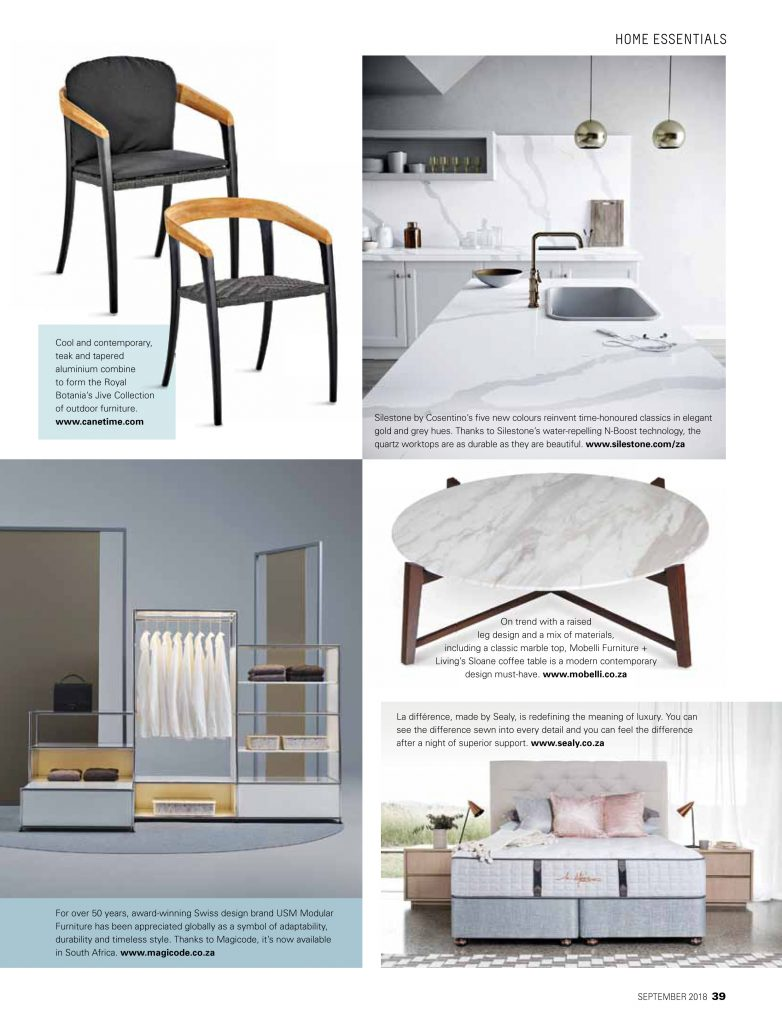 Home Essentials, SA Homeowner, September 2018 issue
